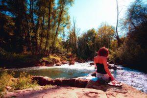 Woman River Nature Landscape Water