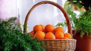 Oranges Basket Market Orange Green
